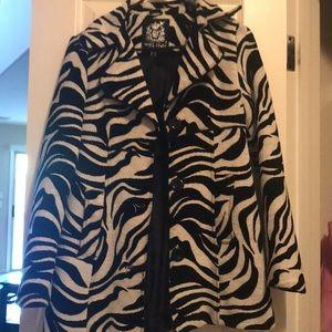 Zebra print pea coat